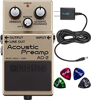 Boss AD-2 Acoustic Preamp Pedal Bundle with Blucoil Power Supply Slim AC/DC Adapter for 9 Volt DC 670mA, and 4-Pack of Celluloid Guitar Picks