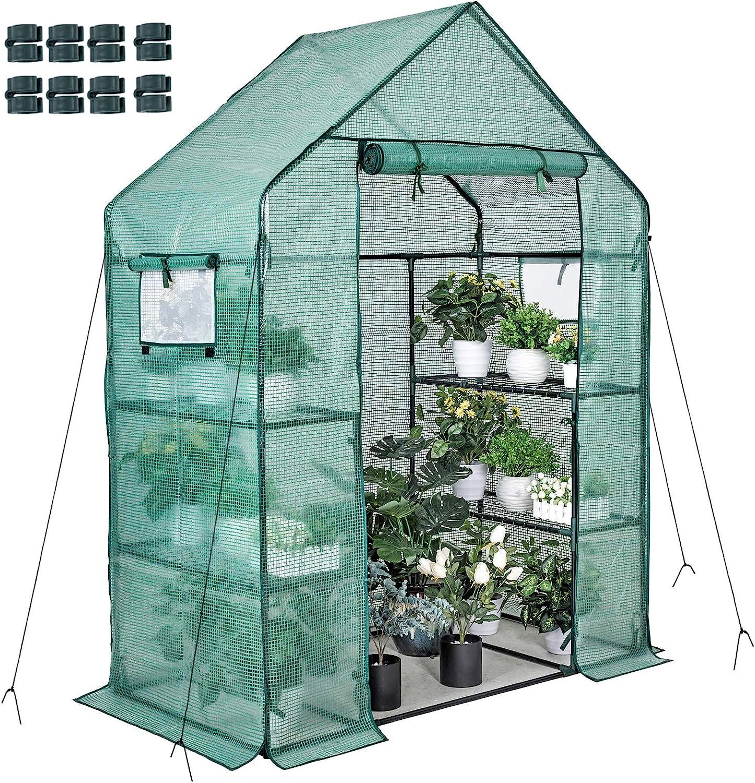 日本 Walk-in Greenhouse 77x56x30 in 2 Windows Tiers Net Shelves 3 8 マーケティング 4