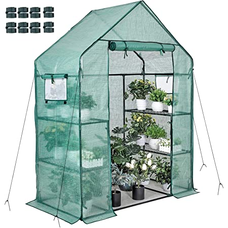 Walk-in Greenhouse 77x56x30 In 2 Windows 3 Tiers 4 Shelves 8 Net Rack Buckles Hot House Roll Up Zipper Door Plant Gardening Portable Green House for Indoor Outdoor Use Extra Anchors & Wind Ropes