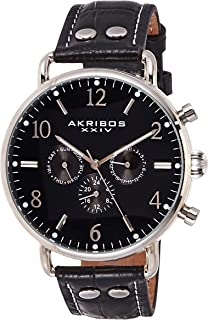 Akribos XXIV Complications Men's Watch - 3 Subdials Day, Date, and GMT On Leather Calfskin with White Stitching Strap - AK752