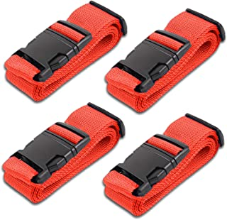 Red Luggage Belts Suitcase Straps Adjustable and Durable, Name Card, Travel Case Accessories, 4 Pack