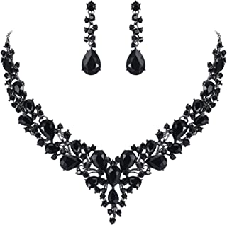Women's Wedding Bridal Austrian Crystal Teardrop Cluster Statement Necklace Dangle Earrings Set