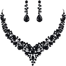 BriLove Women's Wedding Bridal Austrian Crystal Teardrop Cluster Statement Necklace Dangle Earrings Set