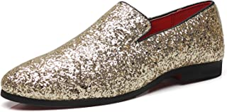 Mens Smoking Slipper Metallic Sparkling Glitter Tuxedo Slip on Dress Shoes Loafers Shoes