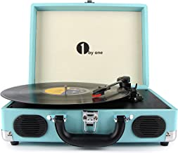 1byone Belt Driven 3 Speed Portable Stereo Turntable with Built In Speakers, Supports RCA Output, Headphone Jack, MP3, Mobile Phones Music Playback, Turquoise
