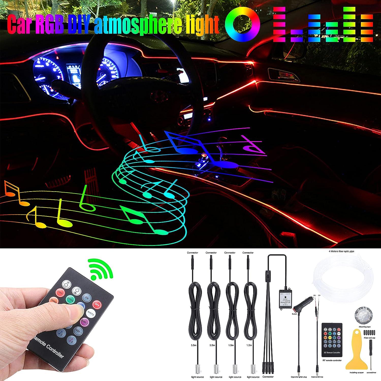 QAUBEN Max 46% OFF Car Max 83% OFF Ambient Lighting 8 Optic Multicoloured F Music Colors