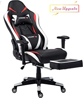MORFAN Swivel Gaming Chair Large Size PU Leather Racing Style High-Back Office Chair with Lumbar Massager Support and Retractable Footrest (Black/Red/White)