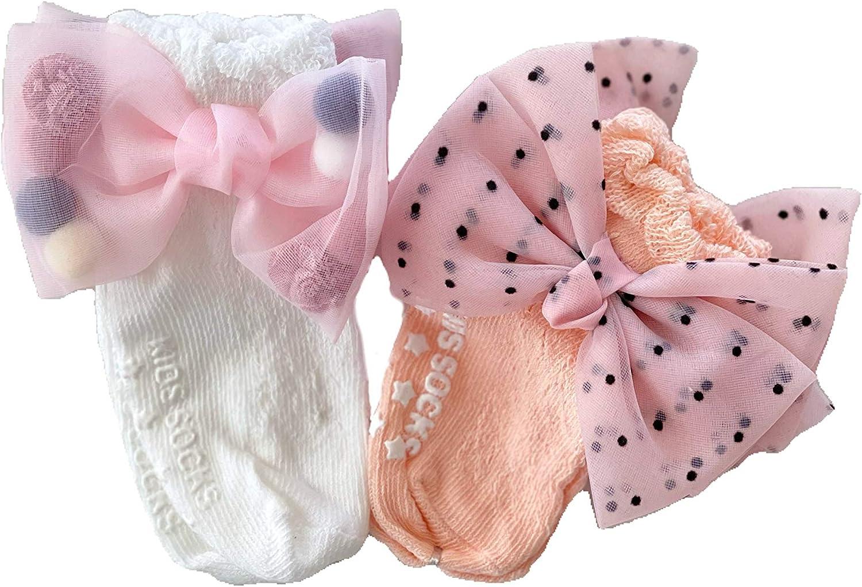 Infant Baby Girl Socks,Cotton,Non-Slip,Fashion Bow Lace