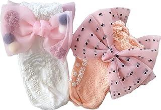 Infant Baby GIrl Socks,Cotton,Non-Slip,Fashion Bow Lace (OrangeWhite)
