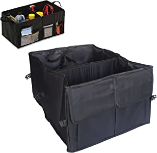 Xena Portable Black 3 Compartment Collapsible Storage Back Seat Home Office Car Trunk Closet Organizer Kit for Emergency Gear Clothes Uniforms Shoe Vehicle Accessory