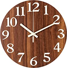 BEW Large Wall Clock, Vintage Wood Spruce Dial with Roman Numerals Metal Frame 12 Inch