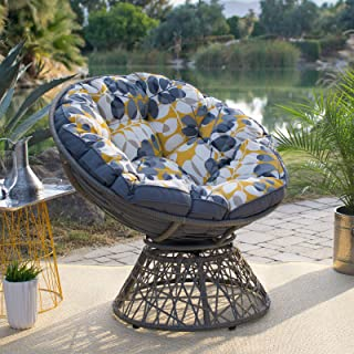 Outdoor Papasan Chair Reversible Cushion Large All Weather Resin Wicker Steel Frame, Blue