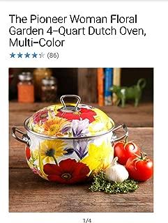 Pioneer Woman Dutch Oven 2 Piece Set of 6.5-Quart and 4-Quart Floral Garden, Multi Color
