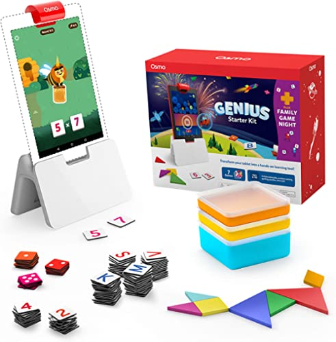 Osmo - Genius Starter Kit for Fire Tablet - Ages 6-10 - Math, Spelling, Creativity & More - STEM Toy (Osmo iPad Base ...