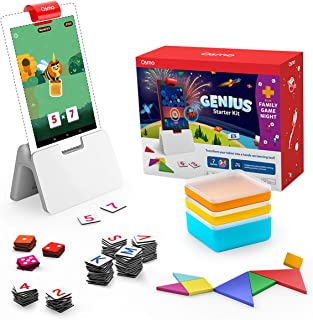 Osmo - Genius Starter Kit for Fire Tablet + Family Game Night - 7 Hands-On Learning Games for Spelling, Math & More - Ages 6-10 Fire Tablet Base Included - Amazon Exclusive