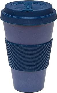 Reusable Coffee Cup Travel Mug Eco-Friendly Bamboo Fibre Silicon Natural 15oz (Dark Blue)