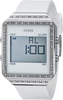 GUESS  White Stain Resistant Silicone Crystal Watch with Day, Date, 24 Hour Military/Int'l Time, Dual Time Zone + Alarm. Color: White (Model: U1224L1)