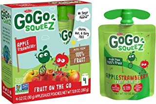 GoGo squeeZ Applesauce on the Go, Apple Strawberry, 3.2 Ounce (4 Pouches), Gluten Free, Vegan Friendly, Unsweetened Applesauce, Recloseable, BPA Free Pouches (Packaging May Vary)