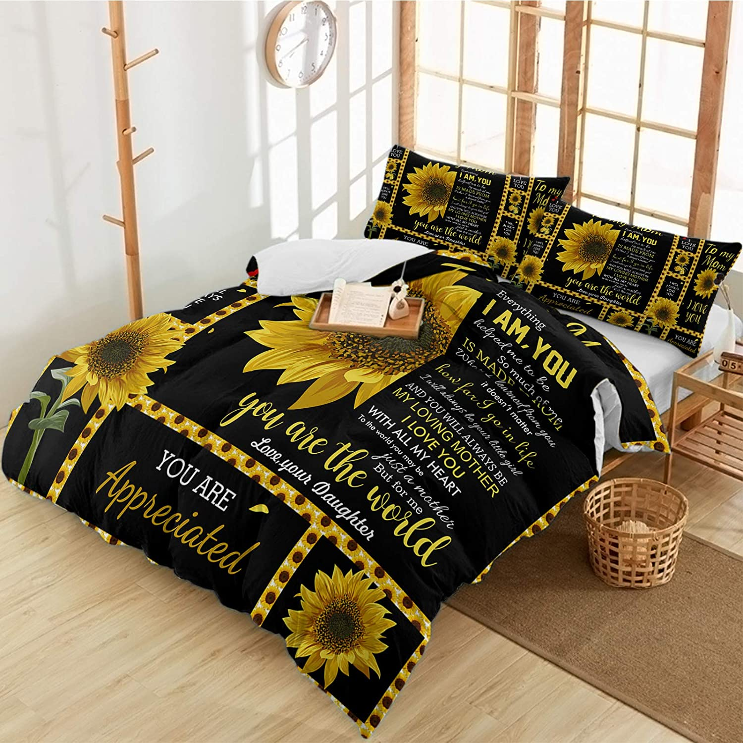 Duvet Cover Set Mother's Day Sunflower Piece S Bedding 3 Quotes El Max 49% OFF Paso Mall