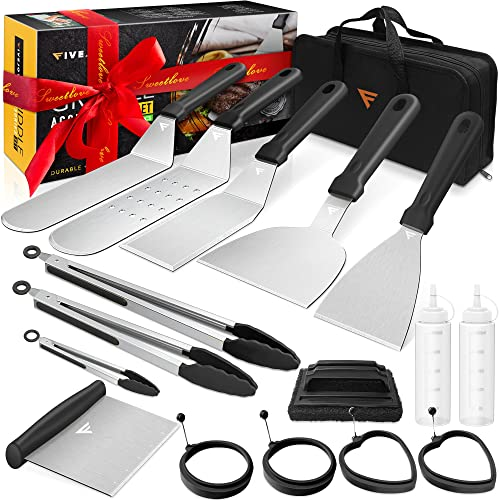 popular FiveJoy Griddle Accessories Kit, Flat top Grill Set for sale Blackstone and Camp Chef, BBQ Spatula Tools with Metal Spatula, Scraper, Egg Rings, Cleaning high quality Kit and Carrying Bag for Outdoor Camping (17 PCS) online sale
