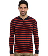 U.S. POLO ASSN. - Slim Fit Long Sleeve Slub Henley w/ Stripes
