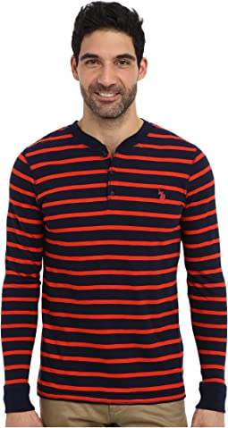 Slim Fit Long Sleeve Slub Henley w/ Stripes