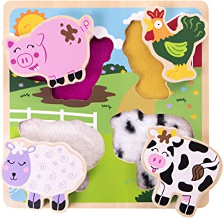 Professor Poplar's Farm Animal Friends Texture Puzzle | Classic Wooden Sensory Touch Toy | Tactile, Special Needs Toys