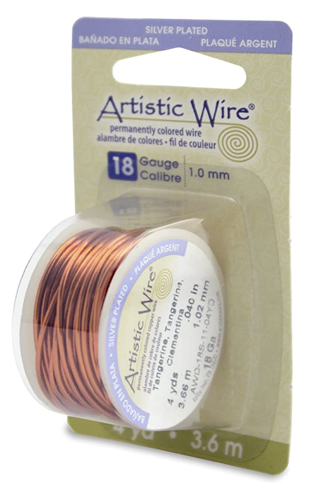Beadalon Artistic Wire 18-Gauge Silver Plated Tangerine Wire, 4-Yards