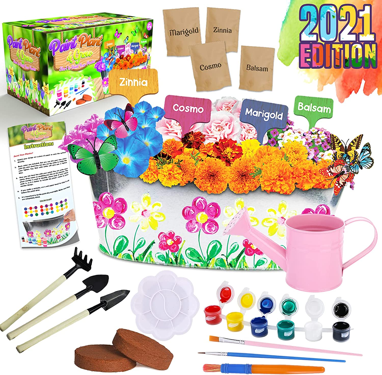 Climaxfy Flower Gardening Supplies for Kids - Growing Plants & Seeds Accessories Set Pots Indoor Garden Science STEM Toys Gift Crafts Birthday Arts Kits Ages 4 5 6 7 8-12 Year Old Boys Girls