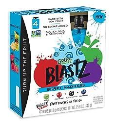 GoGo squeeZ BlastZ Fruit Pouches on the Go, Berry Madness, 3.88 Ounce (4 Pouches), Gluten Free, Vega