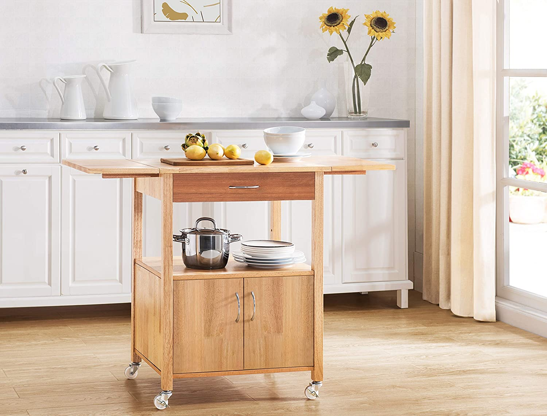2L Lifestyle Granville Drop-Leaf Kitchen Cart, Small, Natural