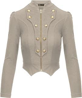Women's Military Crop Stretch Gold Zip Up Blazer Jacket