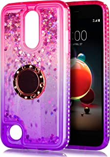 LG Aristo 2 Case, for LG Aristo 2 Plus/Zone 4 /Tribute Dynasty/Phoenix 4/Fortune 2/Rebel 4 LTE/Risio 3/K8+/K8 Plus Glitter Motion Case, with Tempered Glass Protector Ring Kickstand (Pink)