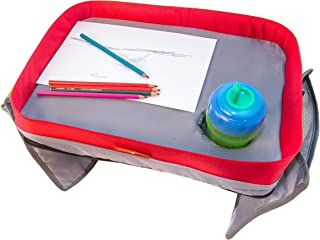 Kids Car Seat Travel Lap Tray for Snack and Play, Easy to Clean Activity Table with Cup Holder and Removable Strap, Sturdy Toddler Lap Desk, Perfect for Traveling on Long Journeys with Children