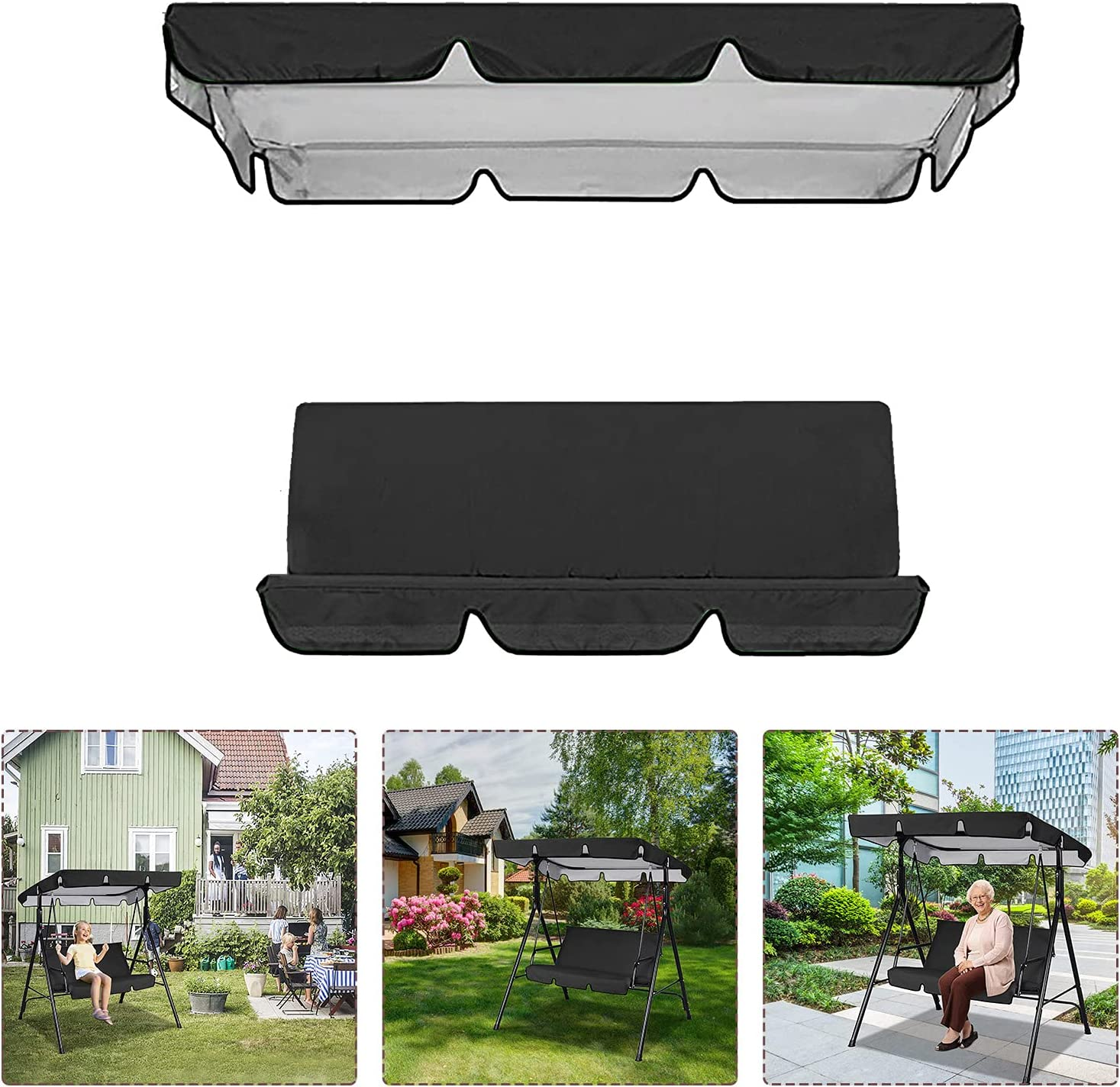 Odewrom Patio price Swing Max 60% OFF Canopy Replacement Top Set Cushions Cover
