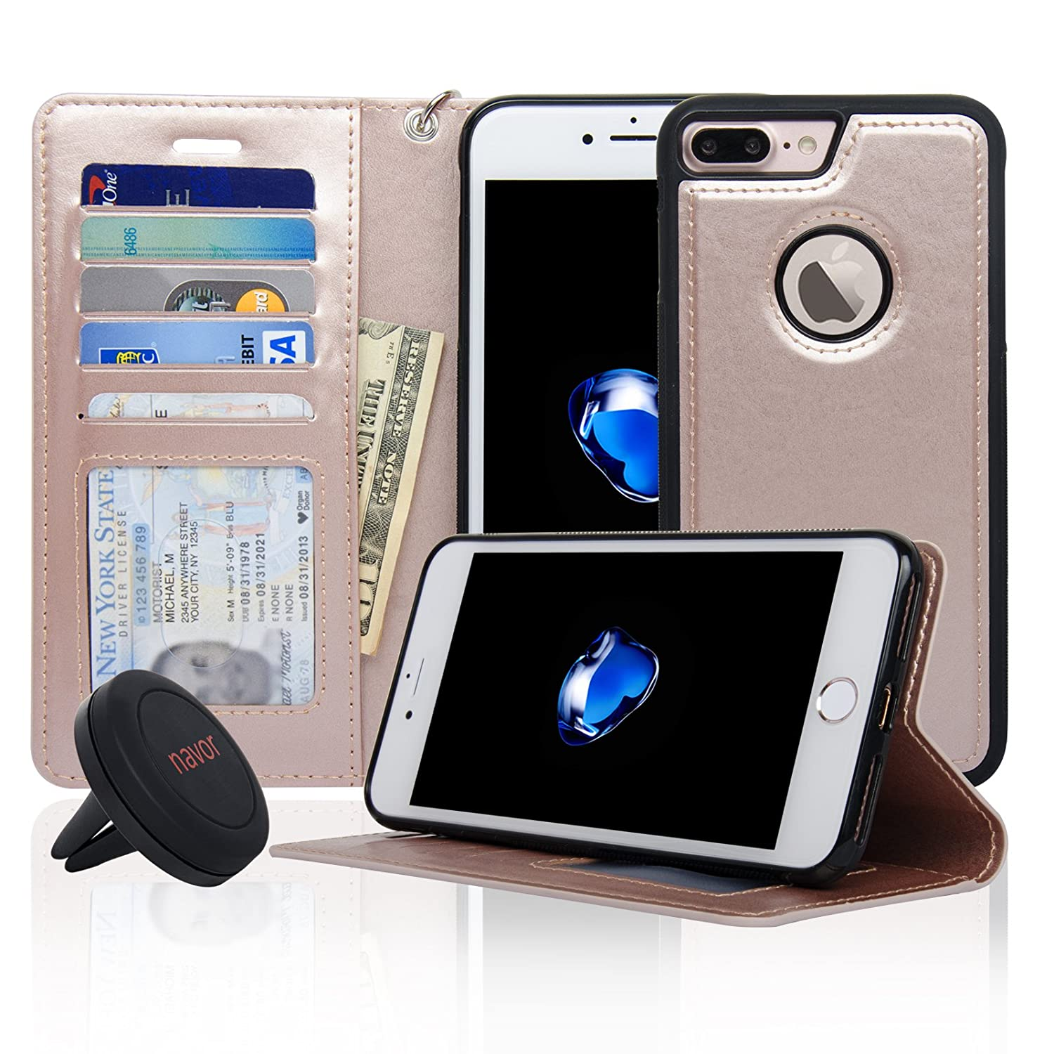 Navor Detachable Magnetic Wallet Case & Universal Car Mount Compatible for iPhone 7 Plus [RFID Theft Protection] JOOT-1L Series -Rose Gold