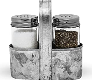 Farmhouse Salt and Pepper Shakers with Caddy Set by Saratoga Home – Rustic Vintage..
