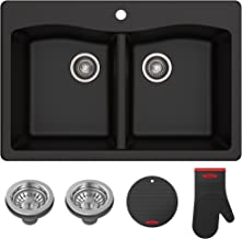 Kraus Forteza Granite Kitchen Sink, 33 Inch, KGD-52BLACK