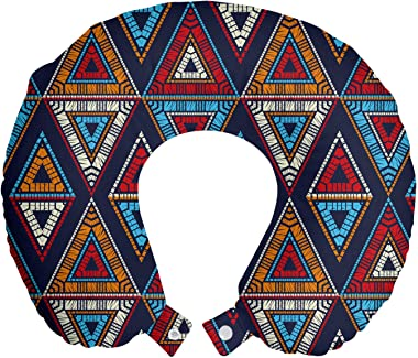"Lunarable Aztec Travel Pillow Neck Rest, Folk Motif with Repetitive Triangles Traditional Colorful Graphic, Memory Foam Traveling Accessory for Airplane and Car, 12"", Indigo and Multicolor"