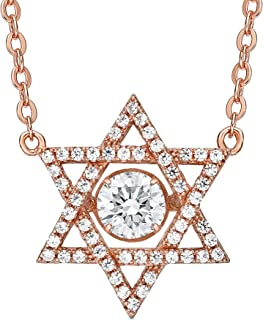 "Central Diamond Center Nana Star of David Dancing Stone S-Silver & Swarovski CZ with an 18"" Adjustable Chain"