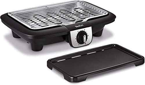 Tefal Easy Grill 2en1 Barbecue électrique de table, Plaque plancha inclus, Puissant 2100 W, Jusqu'à 2 fois moins de f...