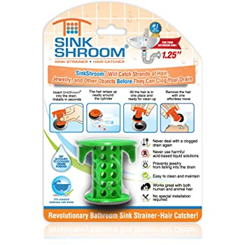 SinkShroom The Revolutionary Sink Drain Protector Hair Catcher/Strainer/Snare, Green