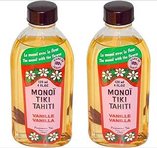 Monoi Tiki Tahiti Vanilla Coconut Oil (Pack of 2), Scented With Fresh Handpicked Tiare Flowers, 100% Made in Tahiti, 4 fl. oz.