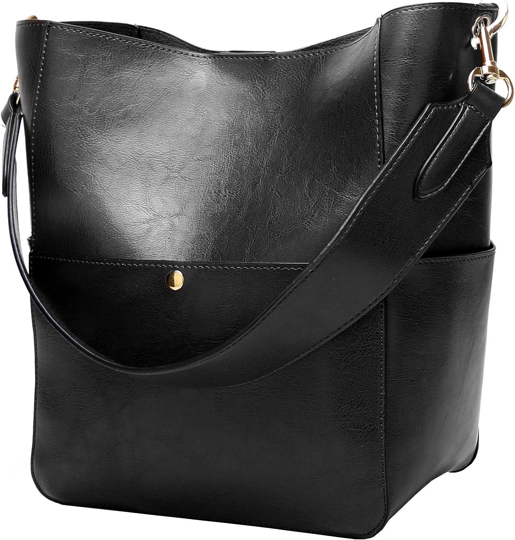 Molodo Womens Handbag, Pu Leather Bucket Tote Purse And Handbags Medium Satchel Hobo Purse Designer Work Shoulder Bags