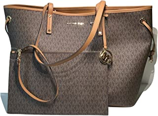 MICHAEL Michael Kors Jet Set Travel Large Drawstring Tote and Wristlet Set (Signature MK Brown/Acorn)
