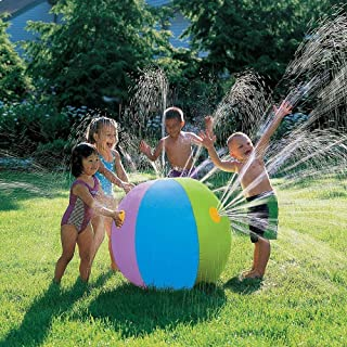 POKONBOY Extra Large 30 Inch Beach Ball Sprinkler Outdoor Colorful Water Spray Ball Outdoor Swimming Pool Beach Use