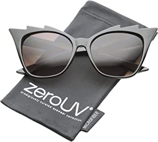 Womens High Fashion Glam Rock Jagged Edge Staggered Cat Eye Sunglasses
