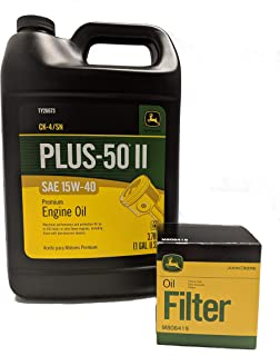 John Deere Original Equipment Oil Change Kit Filter and Oil - (1) M806419 + (1) Gallon 15W-40