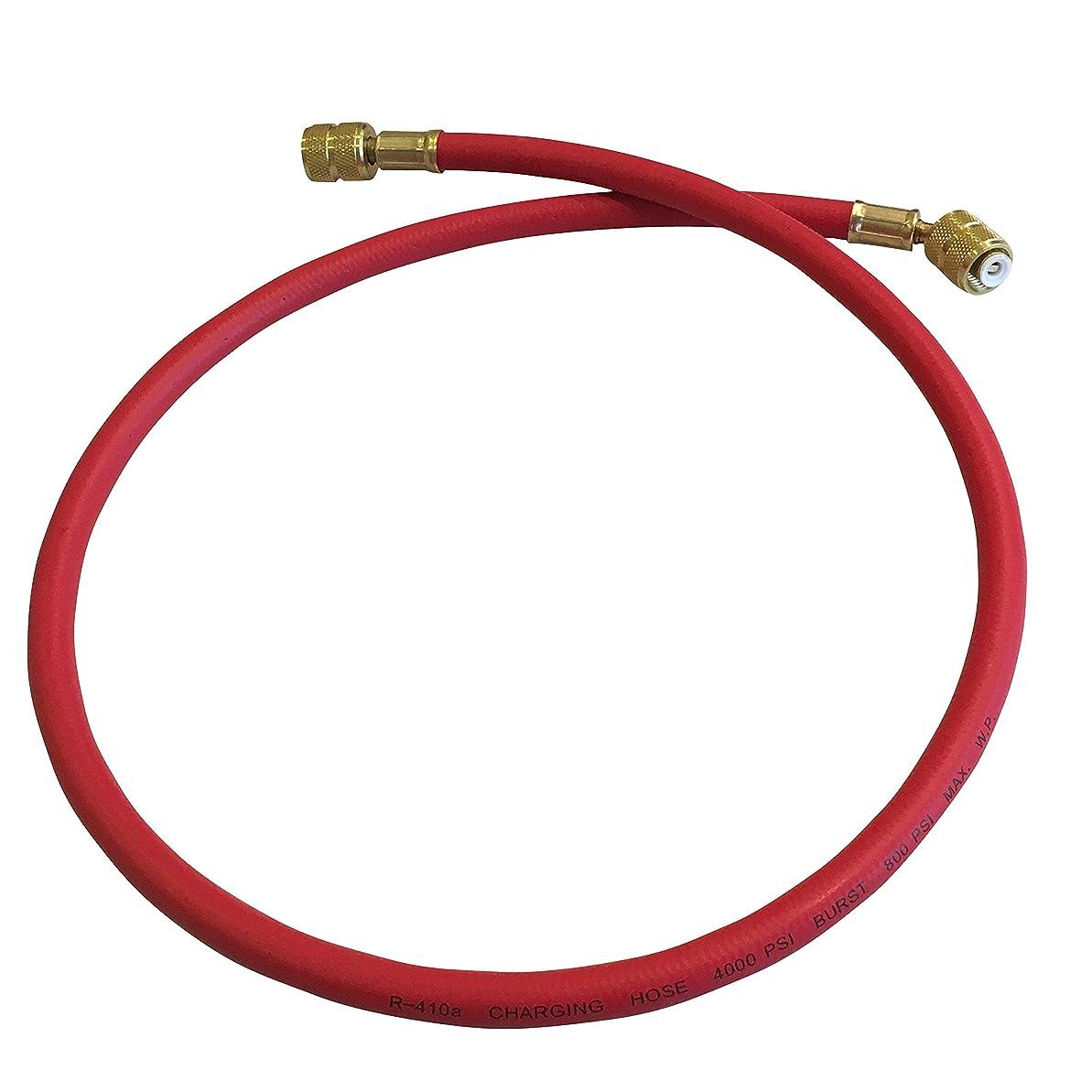 〈HOTEISON〉R410A R32用 エアコン ガス チャージホース 90cm 選べる 3色 赤/青/黄 (赤)