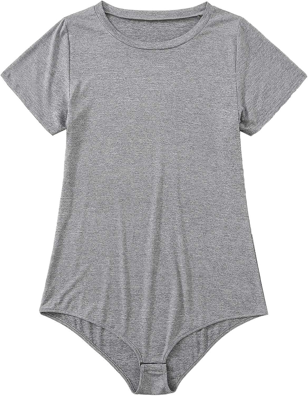 ROMWE Women's Plus Size Round Neck Short Sleeve Basic Plain Tee Bodysuit